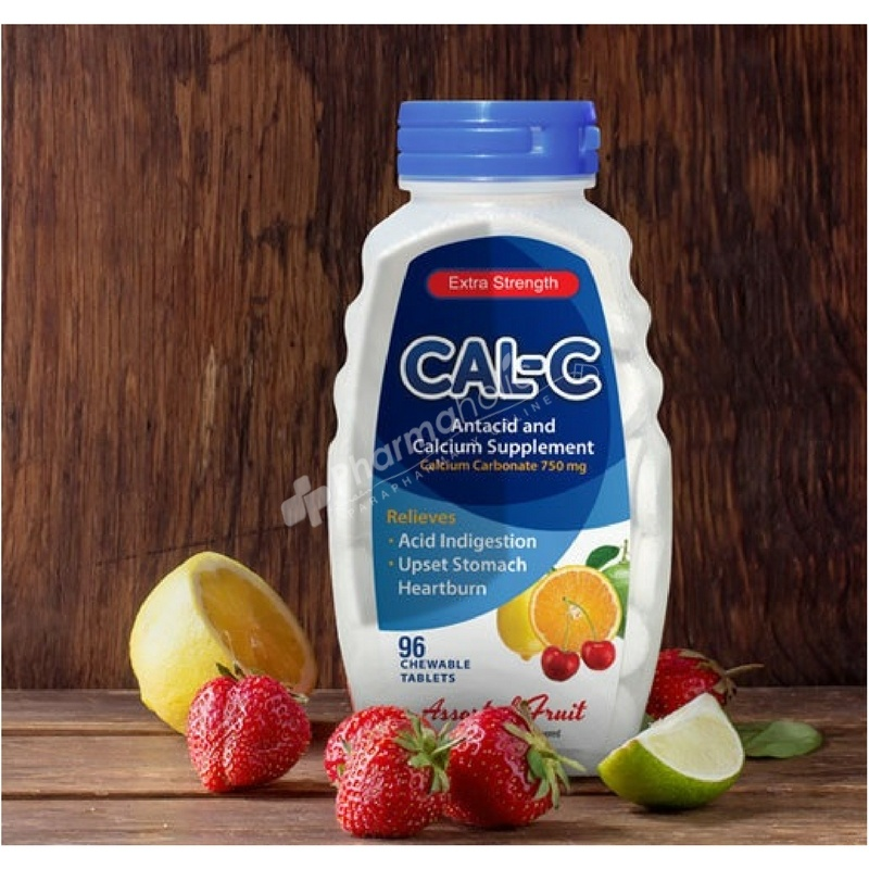 Cal-C Extra Strength Antacid and Calcium Supplement Assorted Fruit