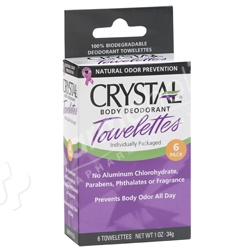 Crystal Body Deodorant Towelettes  Unscented