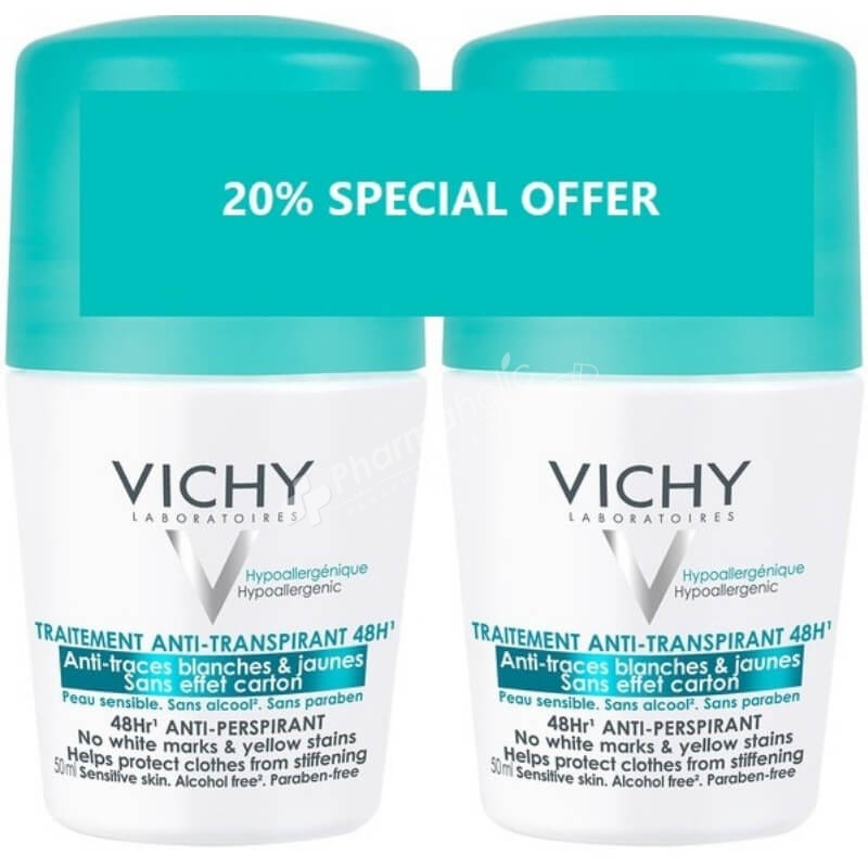 Vichy Deodorant 48Hr No Trace Anti-Perspirant Roll On